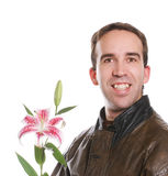 Man Holding Lily Stock Photography