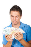 Man holding  a lot of money Royalty Free Stock Photos