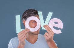 Man portrait. Man holding love letters as concept stock photo