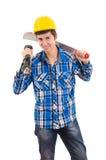 Man holding a machete and helmet
