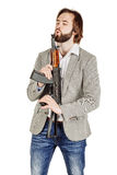 Man holding a machine gun isolated on white background Royalty Free Stock Image