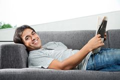 Man Holding Magazine Royalty Free Stock Photos