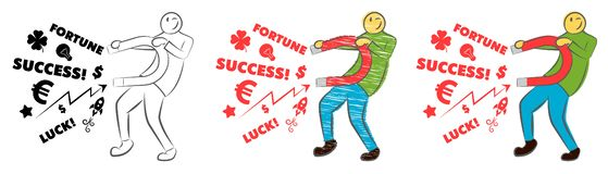 Businessman attracting luck with a large magnet. Idea and business concept. Successful business. Guy holds a magnet. Hand drawn ca stock illustration