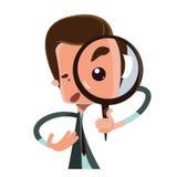 Man holding magnifying glass  illustration cartoon character Royalty Free Stock Photos