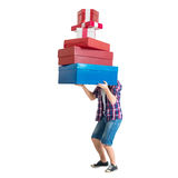 Man holding many colorful and heavy bags gift Royalty Free Stock Photo