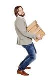 Man holding a many folder isolated on white background.  Royalty Free Stock Photo