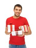 Man holding many gift boxes Royalty Free Stock Photo