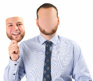 Man holding mask Stock Images