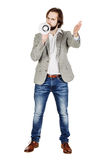 Man holding megaphone. human emotion expression and lifestyle co Stock Photography