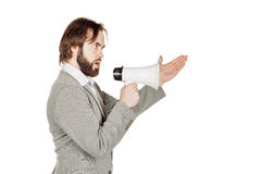 Man holding megaphone. human emotion expression and lifestyle co Royalty Free Stock Photos