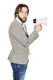 Man holding megaphone. human emotion expression and lifestyle co Royalty Free Stock Image