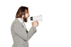 Man holding megaphone. human emotion expression and lifestyle co Stock Images