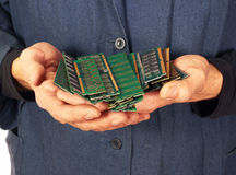 Man holding memory modules in hands royalty free stock image