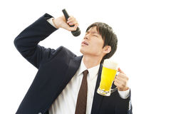 Man holding microphone Stock Photos