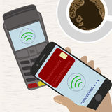 Man holding mobile phone with credit card on the screen paying wirelessly over POS terminal. Vector illustration royalty free illustration