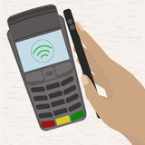 Man holding mobile phone with credit card on the screen paying wirelessly over POS terminal. Vector illustration vector illustration
