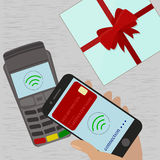 Man holding mobile phone with credit card on the screen paying wirelessly over POS terminal. Vector illustration stock illustration
