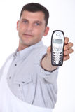 Man holding mobile telephone Royalty Free Stock Photography