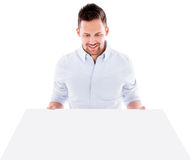 Man holding a mockup Royalty Free Stock Images