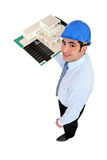 Man holding model housing Stock Photos