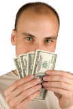 Man Holding Money Stock Images