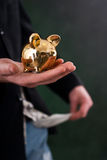 Man holding money box Stock Photo