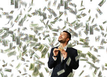 Man holding money and looking up Stock Images