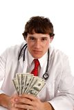 Man Holding Money with Smirk Expression Royalty Free Stock Photos