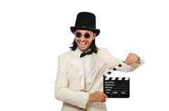 The man holding movie board isolated on white Royalty Free Stock Images