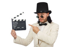 The man holding movie board isolated on white Stock Photos