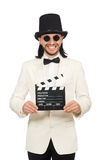 The man holding movie board isolated on white Royalty Free Stock Photos
