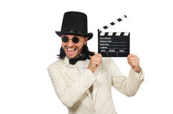 The man holding movie board isolated on white Royalty Free Stock Image