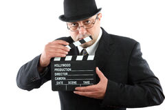 Man holding movie clapboard Royalty Free Stock Photo