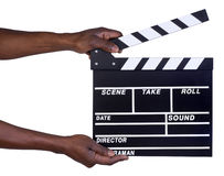 Man holding movie production clapper board Stock Photo