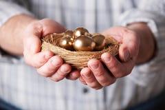 Man Holding Nest Full Of Golden Eggs Royalty Free Stock Photos