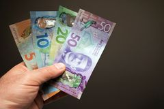 Man holding New Zealand currency Notes royalty free stock photography