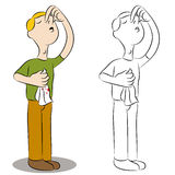 Man Holding Nose Stock Images