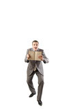 Man holding a note book isolated on white backgrou Royalty Free Stock Photos