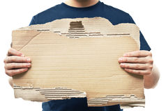 Man holding old crumpled paper Stock Photos