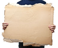 Man holding old crumpled paper Stock Image