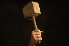 Man holding old Mallet in the Hand Royalty Free Stock Photos