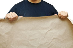 Man holding old paper Stock Images