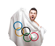 Man holding Olympic Games flag on white background Royalty Free Stock Photo