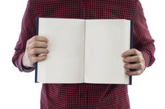 Man holding open book isolated on white. Man holding large open book with blank pages, isolated on a white background stock photos