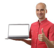 Man holding an open laptop Stock Photo