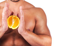 Man holding orange Royalty Free Stock Photos