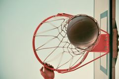 Man Holding Orange Basketball Hoop Stock Photos