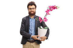 Man holding an orchid flower in a pot Stock Photography