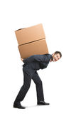 Man holding packages on the back Royalty Free Stock Image