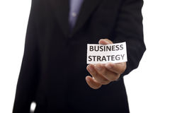 Man Holding Paper With Business Strategy Text Royalty Free Stock Photo